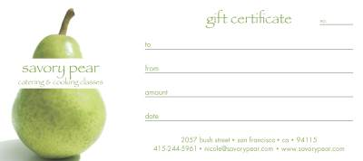 Savory Pear Cooking School Gift Certificate