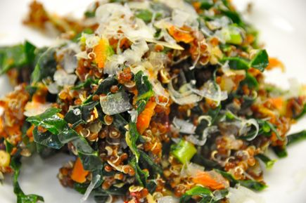 Red Quinoa with Raw Kale and Mahon Cheese